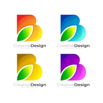 Logotipo da letra b com natureza de design de folha, design colorido