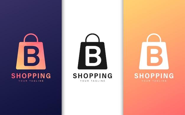 Logotipo da letra b em uma sacola de compras com um conceito moderno