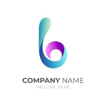 Logotipo da letra b inicial com água da onda