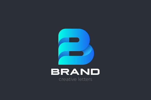 Logotipo da letra b. tecnologia de negócios corporativos
