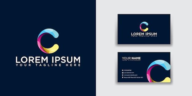 Logotipo da letra c abstrata com modelo de cartão de visita