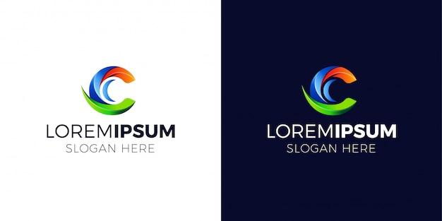 Logotipo da letra c com estilo gradiente