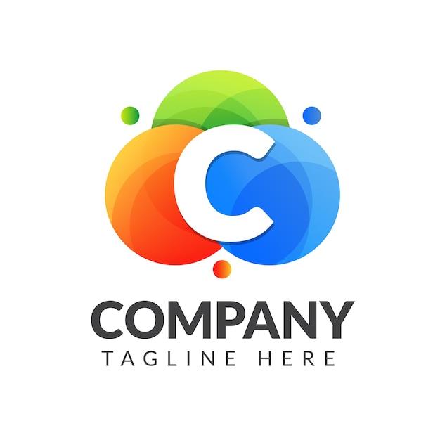 Logotipo da letra c com fundo colorido, design de logotipo de combinação de letras para indústria criativa, web, negócios e empresa.