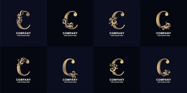 Logotipo da letra c da coleção com design de ornamento de luxo