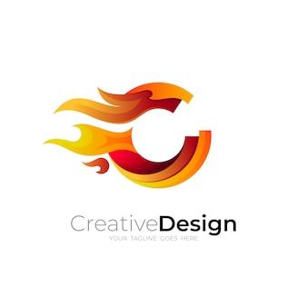 Logotipo da letra c e combinação de design de fogo, 3d colorido