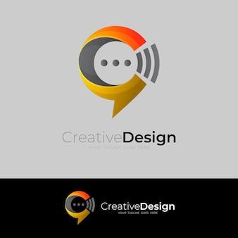 Logotipo da letra c e comunicação de design de bate-papo, ícones de estilo simples