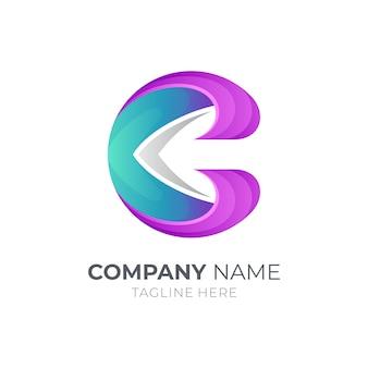 Logotipo da letra c inicial com seta dentro