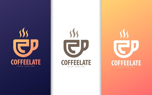 Logotipo da letra c na xícara de café. conceito de logotipo moderno de cafeteria