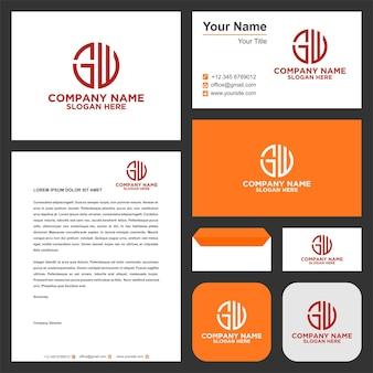 Logotipo da letra circular gw e cartão de visita