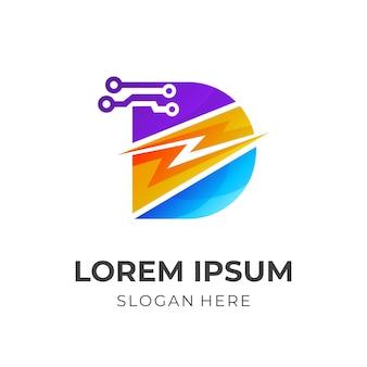 Logotipo da letra d com combinação de design de tecnologia e trovão, estilo colorido 3d