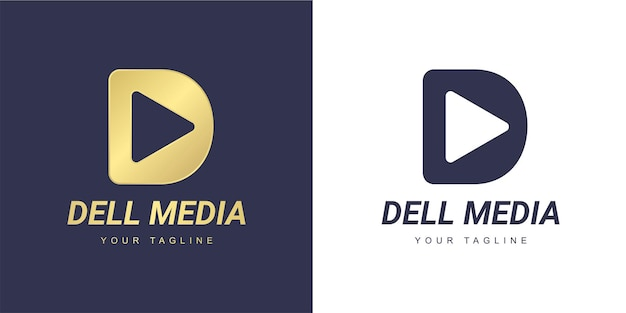 Logotipo da letra d com mídia minimalista e conceito de jogo
