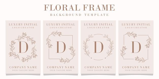Logotipo da letra d com modelo de moldura floral