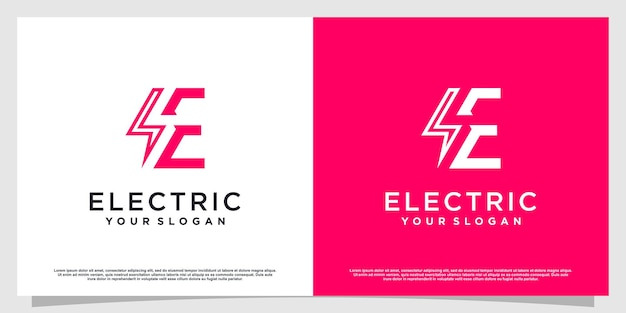 Logotipo da letra e com conceito elétrico premium vector