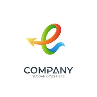 Logotipo da letra e com seta
