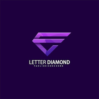 Logotipo da letra e diamante