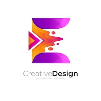 Logotipo da letra e e modelo de design de jogo, 3d