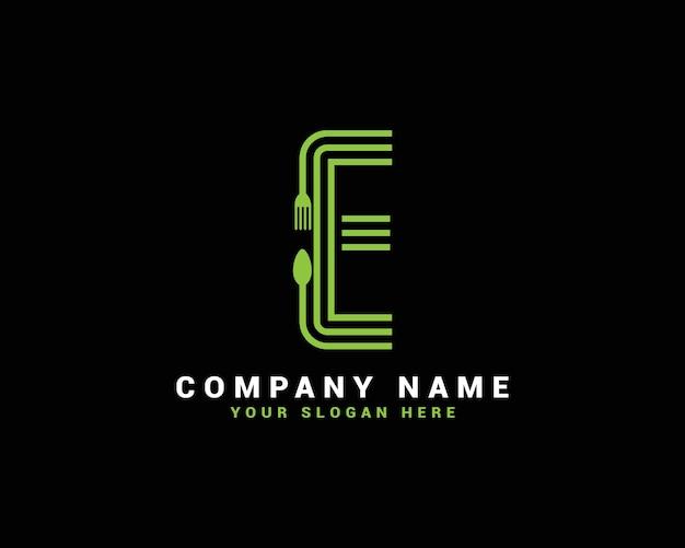 Logotipo da letra e, logotipo da letra e food, logotipo da letra e colher