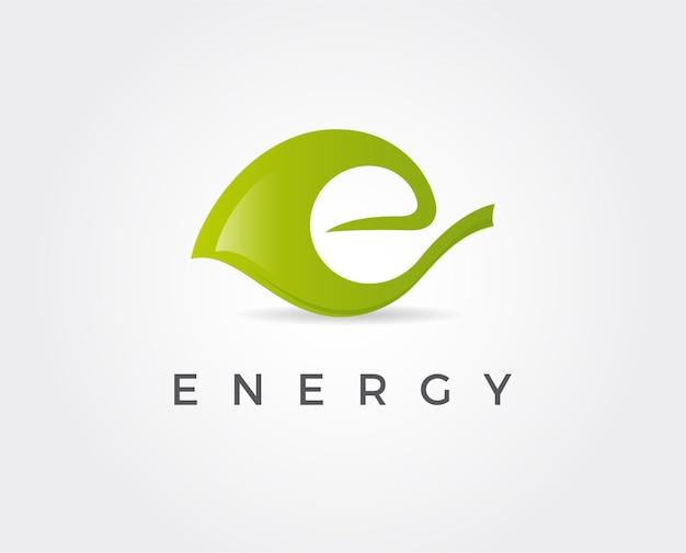 Logotipo da letra e na folha verde ícone de estilo de linha elementos de ecologia do vetor para camisetas e cartões de pôsteres