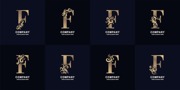 Logotipo da letra f da coleção com design de ornamento de luxo