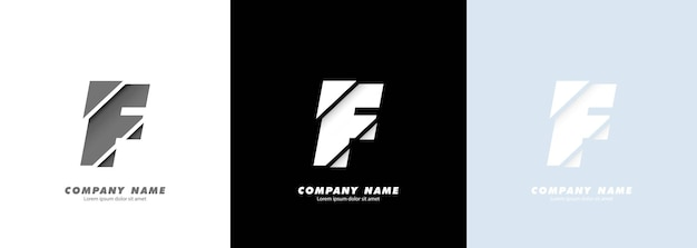 Logotipo da letra f do alfabeto da arte abstrata. design quebrado.