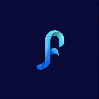 Logotipo da letra f do monograma colorido