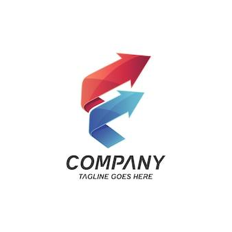 Logotipo da letra f e setas