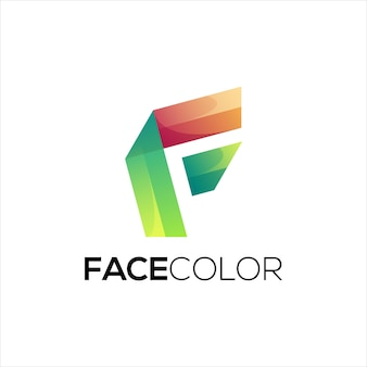 Logotipo da letra f gradiente colorido abstrato