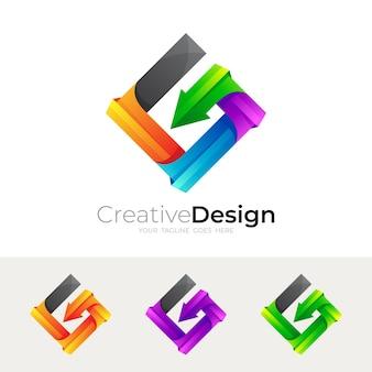 Logotipo da letra g do símbolo com vetor de desenho quadrado, estilo 3d