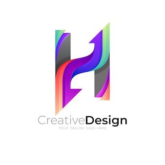 Logotipo da letra h e combinação de design de seta, colorido