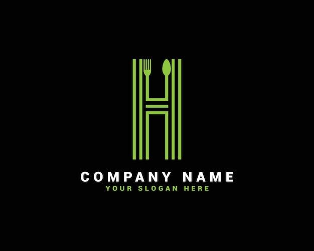 Logotipo da letra h, logotipo da letra h food, logotipo da letra h colher