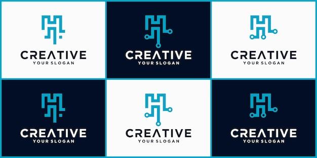 Logotipo da letra h tech, modelo de logotipo futurista na cor azul, logotipo comercial e de tecnologia, letra h tech