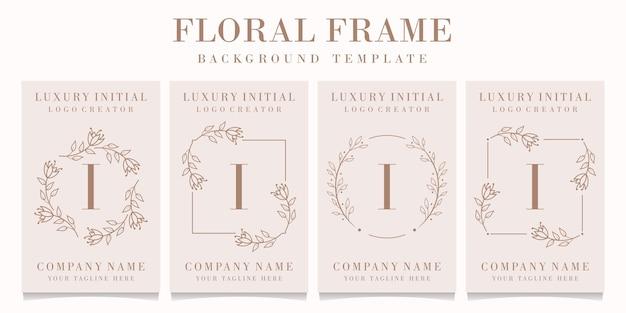 Logotipo da letra i com modelo de moldura floral