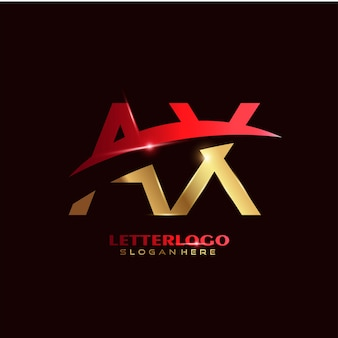 Logotipo da letra inicial ax com design swoosh para o logotipo da empresa e do negócio.