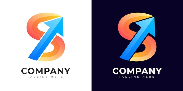 Logotipo da letra inicial do estilo gradiente moderno com símbolo de crescimento