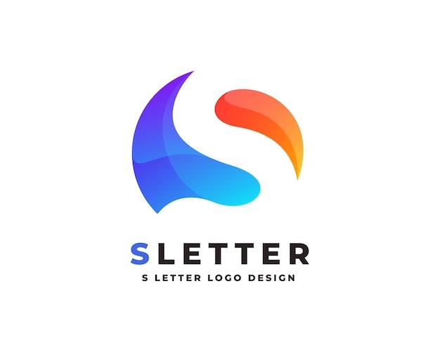 Logotipo da letra inicial gradiente colorido com modelo de vetor de design de cartão de visita premium