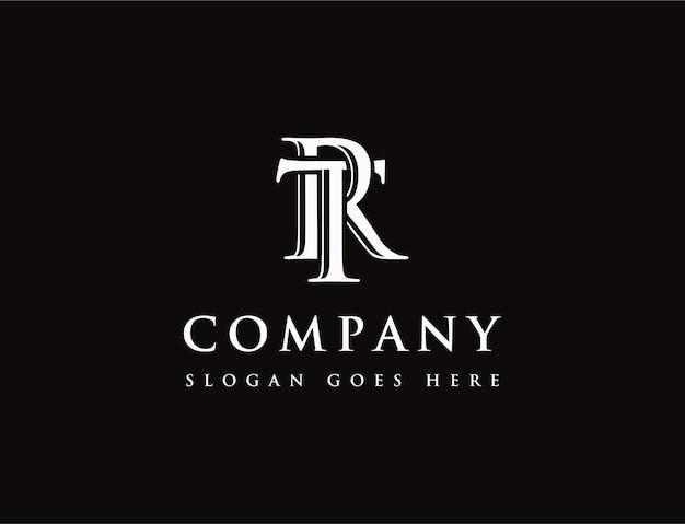 Logotipo da letra inicial t e r, ícone do logotipo do monograma tr rt