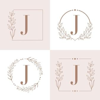 Logotipo da letra j com modelo de fundo de quadro floral