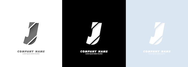 Logotipo da letra j do alfabeto da arte abstrata. design quebrado.