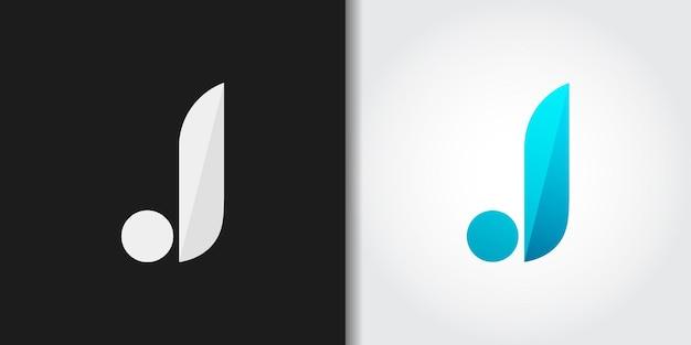 Logotipo da letra j inicial azul simples