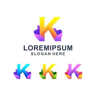 Logotipo da letra k abstrato colorido
