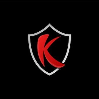 Logotipo da letra k com escudo