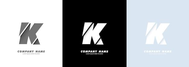 Logotipo da letra k do alfabeto da arte abstrata. design quebrado.