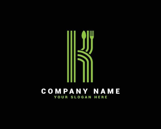 Logotipo da letra k, logotipo da letra k food, logotipo da letra k colher