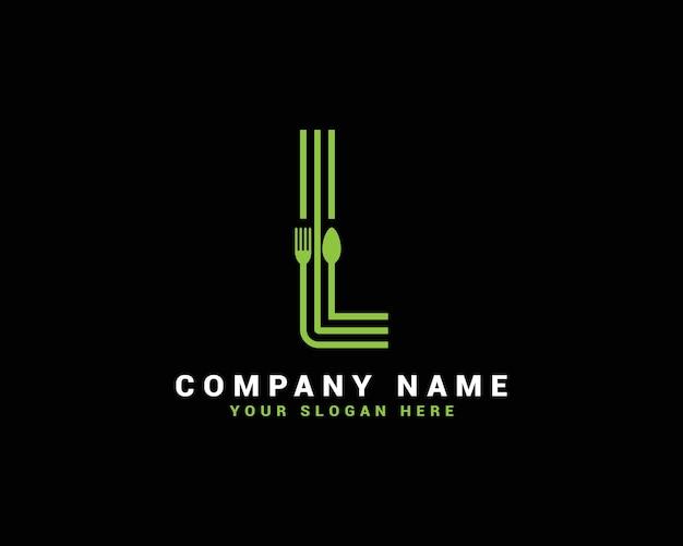 Logotipo da letra l, logotipo da letra l food, logotipo da letra l colher
