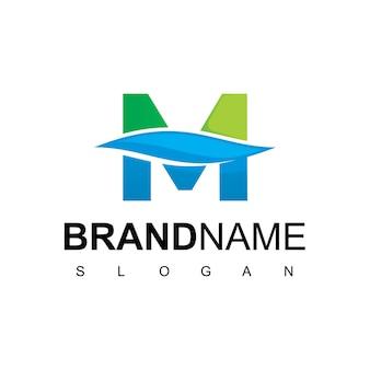 Logotipo da letra m água limpa