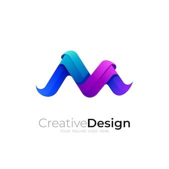Logotipo da letra m com design colorido 3d, estilo moderno