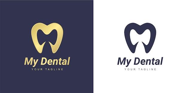 Logotipo da letra m com um dente minimalista e um conceito dentário