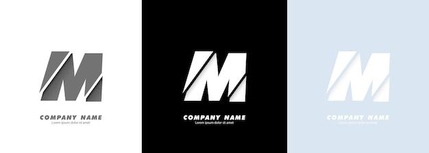 Logotipo da letra m do alfabeto da arte abstrata. design quebrado.