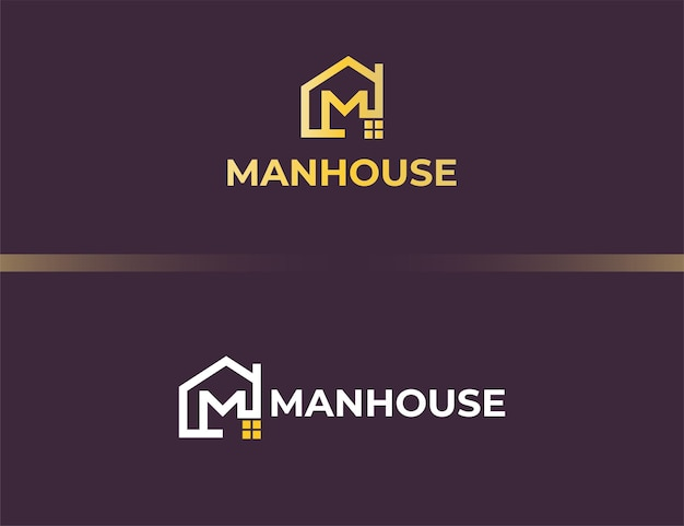 Logotipo da letra m dourada com conceito de casa ou edifício