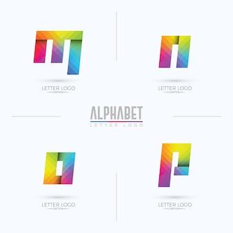 Logotipo da letra mnop em estilo origami pixelado gradiente colorido